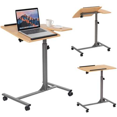 Mobile Laptop Desk Cart on Wheels with Wood Top