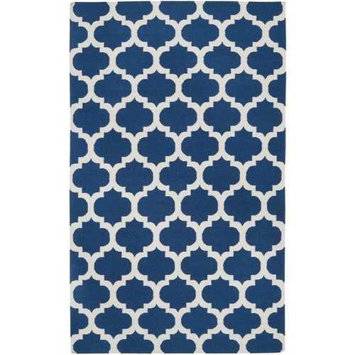 5' x 8' Flat Woven Wool Area Rug Handmade Blue White Trellis Pattern