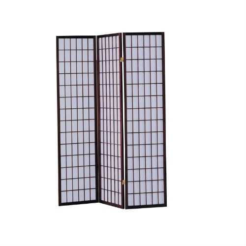 3-Panel Room Divider Asian Style Privacy Screen in Cherry Wood Finish