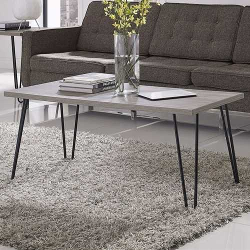 Modern Classic Vintage Style Coffee Table with Wood Top and Metal Legs