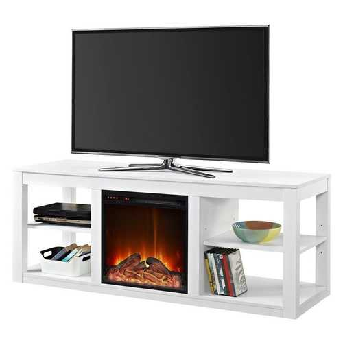 Modern 2-in-1 Electric Fireplace TV Stand in White