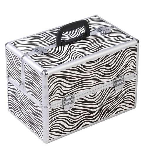 Portable Jewelry Box Makeup Storage Case Organizer in Zebra