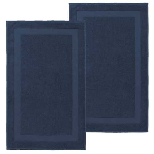 Set of 2 Turkish 100% Cotton Bath Rug Mats Denim / Navy