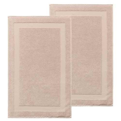 Set of 2 Turkish 100% Cotton Bath Rug Mats Hazelnut - Beige