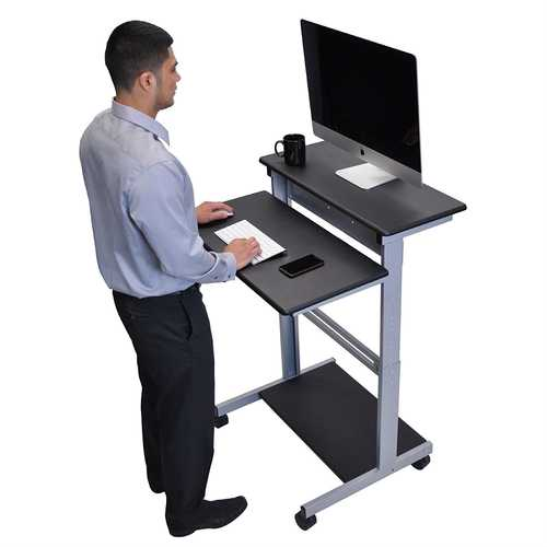 Black 32-inch Adjustable Height Standing Computer Desk with Silver Steel Frame