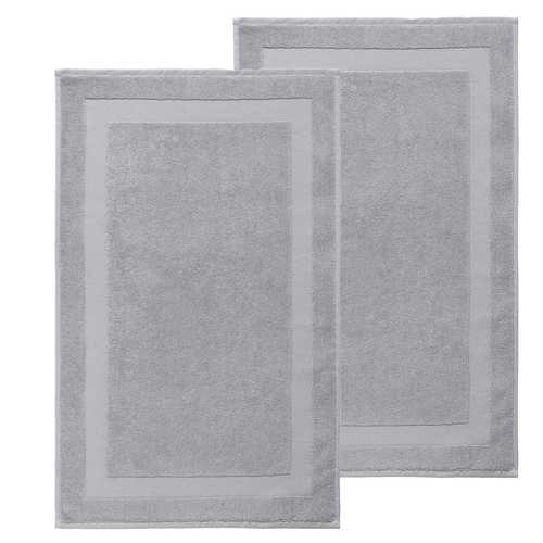 Set of 2 Turkish 100% Cotton Bath Rug Mats Silver