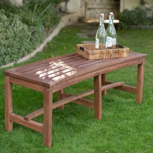 Curved Outdoor Backless Garden Bench for Around Fire Pit or Tree