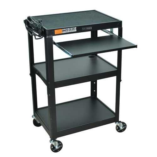 Mobile Stand Up Computer Desk Workstation Cart in Black Steel