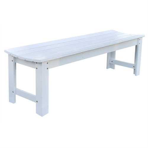 5-Ft Backless Outdoor Garden Bench in Cedar Wood - White