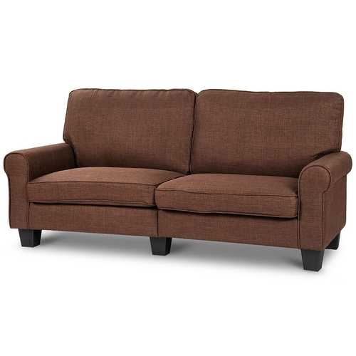 Classic Brown Fabric Loveseat Sofa with Armrests