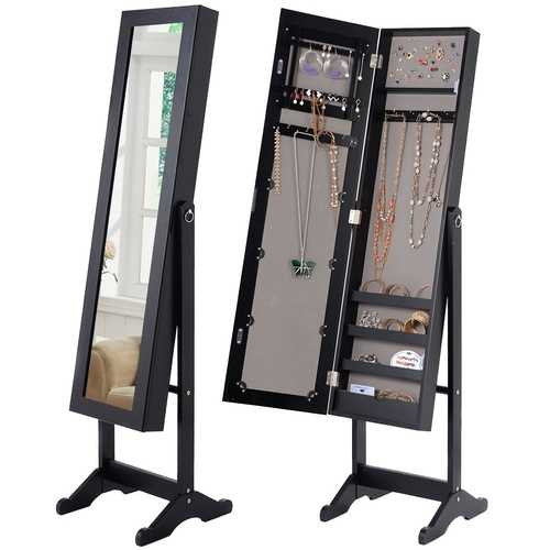 Black Wood Jewelry Storage Cabinet Freestanding Floor Mirror