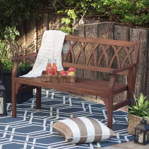 4-Ft Outdoor Garden Bench in Dark Brown Weather Resistant Wood Finish