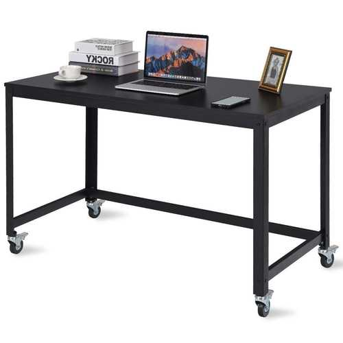 Mobile Steel Frame Laptop Computer Desk with Black Wood Top and Locking Casters