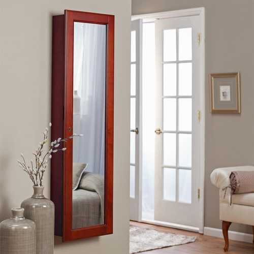 Wall Mounted Locking Jewelry Armore with Mirror in Cherry Wood Finish