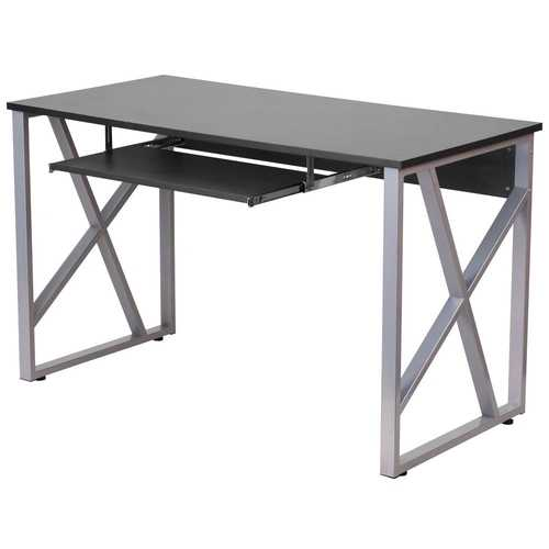 Contemporary Black Laminate Office Computer Desk with Keyboard Tray