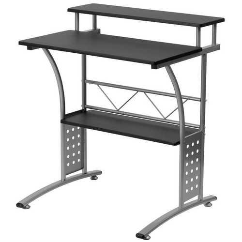 Modern Metal Frame Computer Desk with Black Laminate Top and Raised Shelf