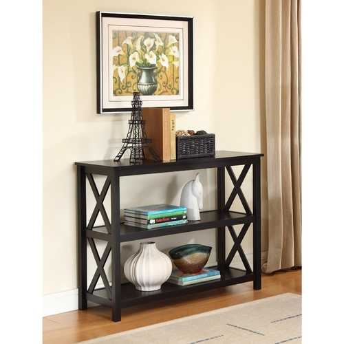 3-Tier Black Sofa Table Bookcase Living Room Shelves