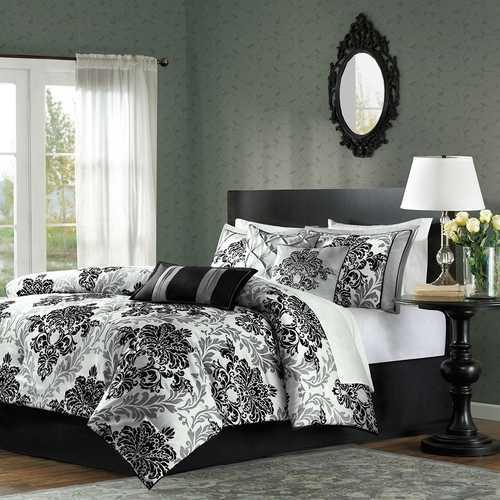 Queen size 7-Piece Damask Comforter Set in Black White Grey