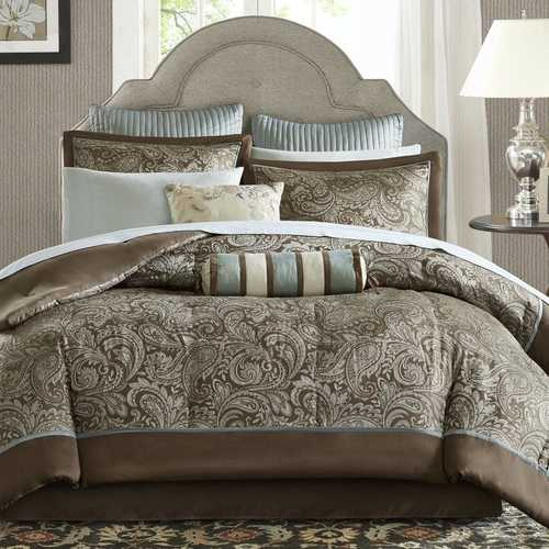 Queen size 12-piece Reversible Cotton Comforter Set in Brown and Blue