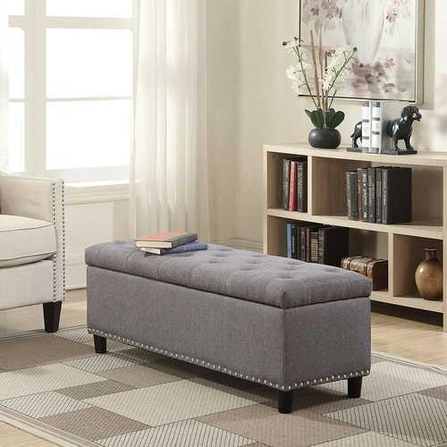 Grey Linen 48-inch Bedroom Storage Ottoman Bench Footrest