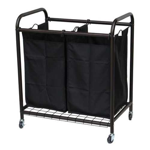 Bronze Laundry Hamper Cart with 2 Black Sorter Bags