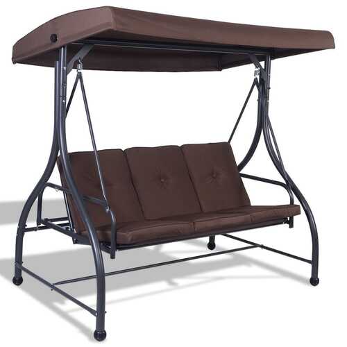 Brown Adjustable 3 Seat Cushioned Porch Patio Canopy Swing Chair