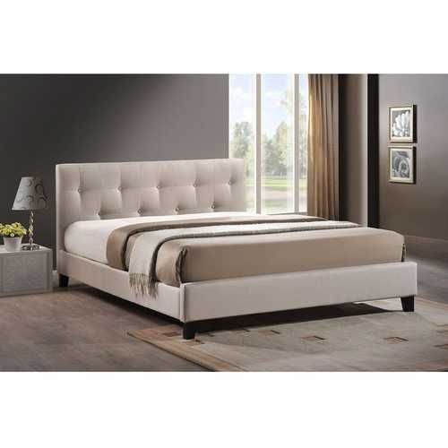 Queen size Beige Fabric Upholstered Platform Bed with Headboard