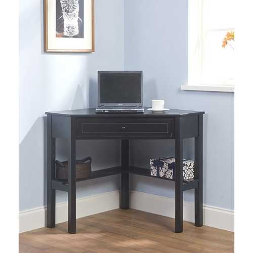 Corner Computer Desk in Black Wood