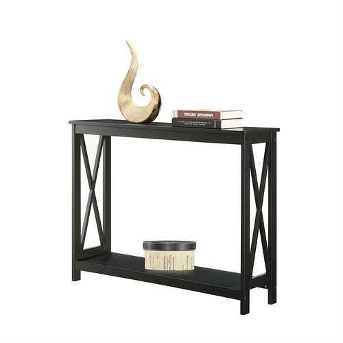 Black Wood Console Sofa Table with Bottom Storage Shelf