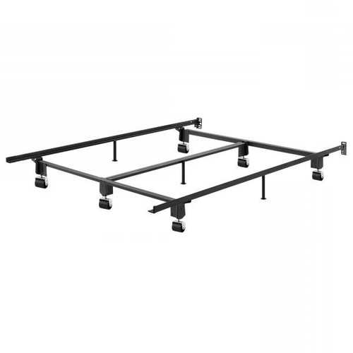 California King Metal Bed Frame with Wheels and Headboard Brackets