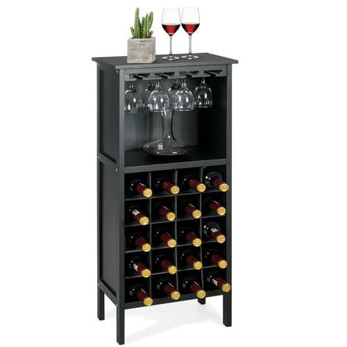 20 Bottles Black Wood Storage Wine Rack Glass Cabinet