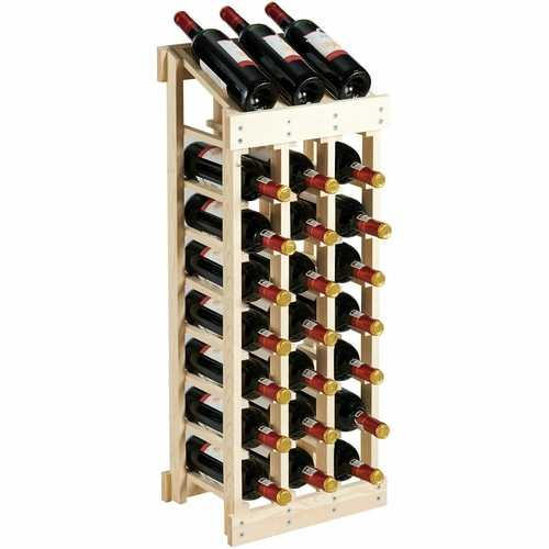 Sturdy Pine Wood Wine Rack Storage Display Shelf Holds 24