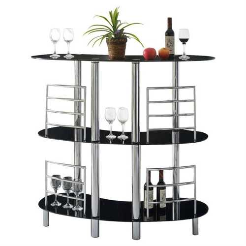 Sturdy Modern Home Bar with Glass Top