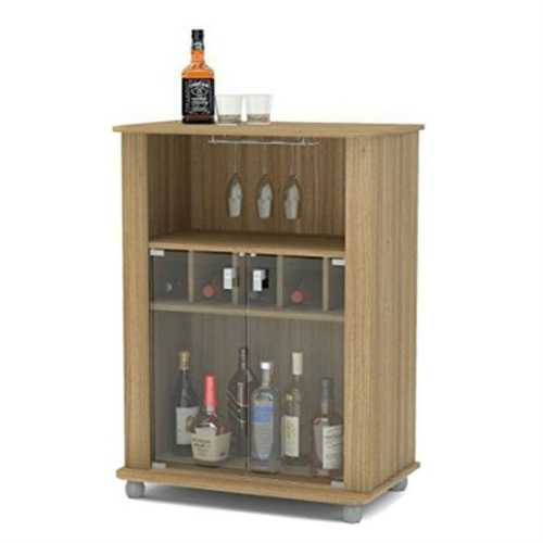 Sturdy Oak Complete Wine Glass Rack Modern Mini Home Bar