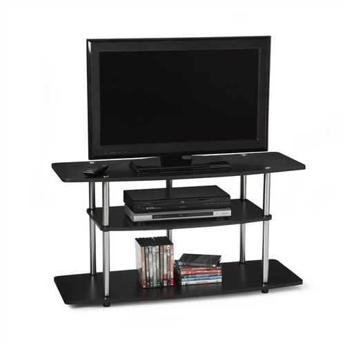 3-Tier Flat Screen TV Stand in Black Wood Grain / Stainless Steel