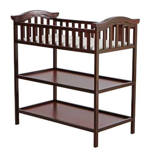 Cherry Finish Changing Table with 2 Shelves and Safety Rail