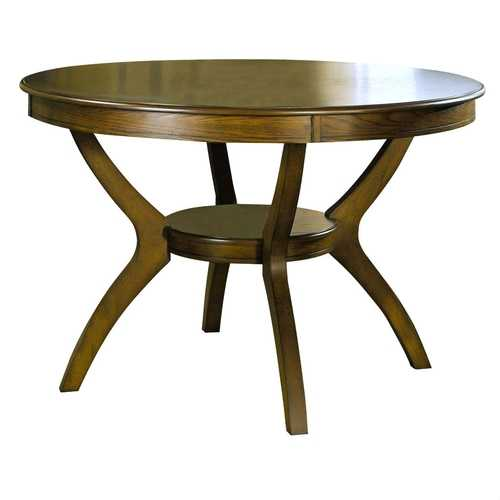 Modern Classic 48-inch Round Dining Table in Medium Walnut Wood Finish