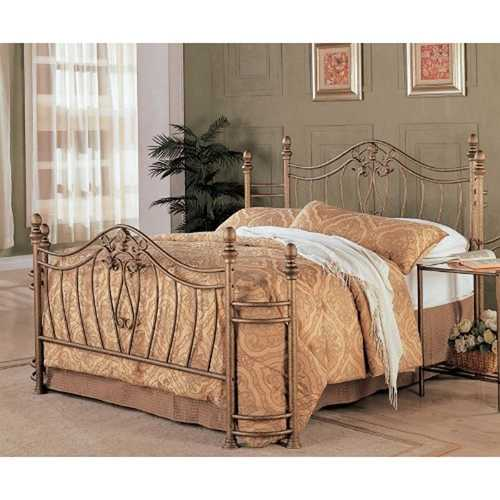 Queen size Metal Bed with Headboard and Footboard in Antique Gold Finish