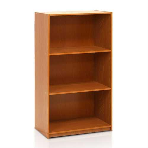 Modern 3-Shelf Bookcase in Light Cherry Wood Finish