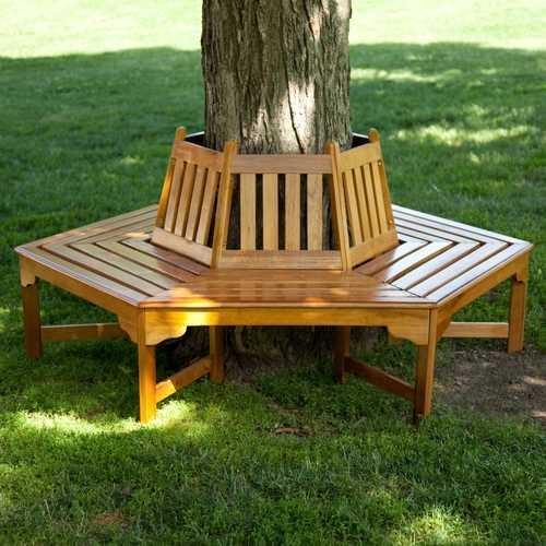 Hexagonal Outdoor Tree Bench in Weather Resistant Cedar Wood