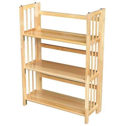 3-Shelf Folding Bookcase Storage Shelves in Natural Wood Finish