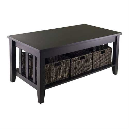 Espresso 2 Tier Coffee Occasional Table with 3 Storage Baskets