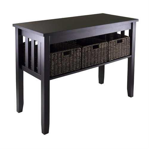 Espresso 2 Tier Entryway Hall Console Table with 3 Storage Baskets