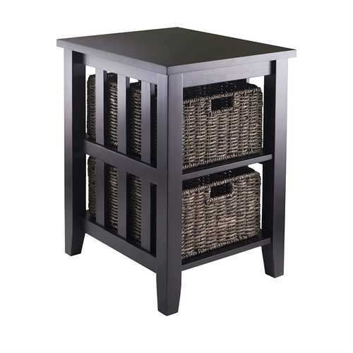 Espresso 3 Tier Bookcase Shelf Accent Table with 2 Small Storage Baskets
