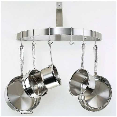 Wall Mount Half Circle Pot Rack in Brushed Stainless Steel