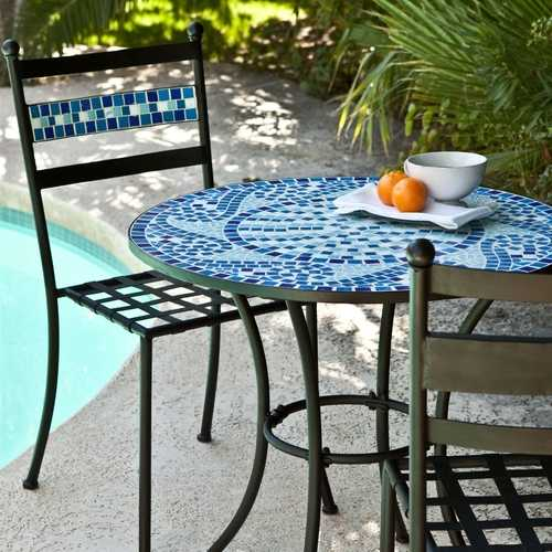 Outdoor 3-Piece Aqua Blue Mosaic Tiles Patio Furniture Bistro Set