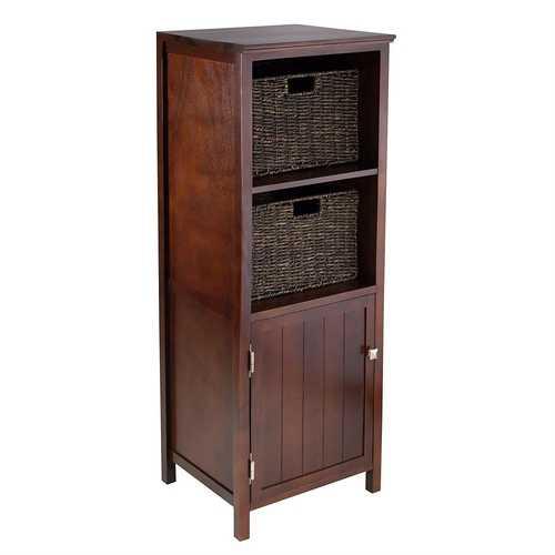 Walnut 3 Piece Cabinet Cupboard Storage with 2 Foldable Baskets