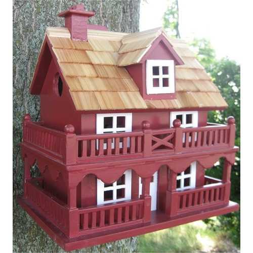 Red Wood Birdhouse - Made of Kiln Dried Hardwood