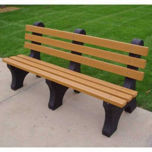 Eco-Friendly Outdoor Plastic Commercial Grade Park Bench in Cedar Color - Made in USA