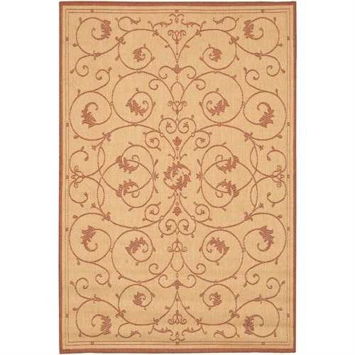 2' x 3'9 Floret Vines Leaves Floral Area Rug in Terracotta Natural